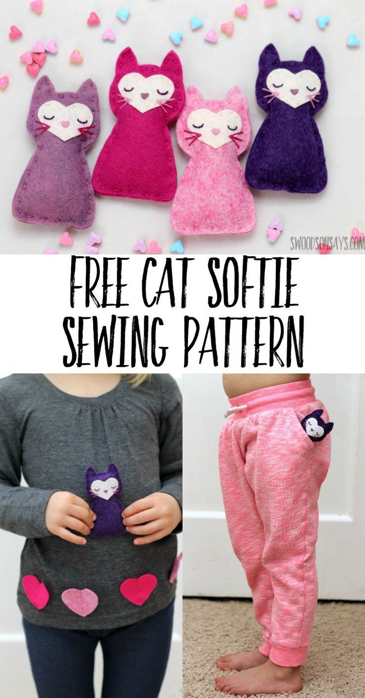 Need a fun Valentine's Day gift to sew for kids? Use this free cat sewing pattern and you'll be set!