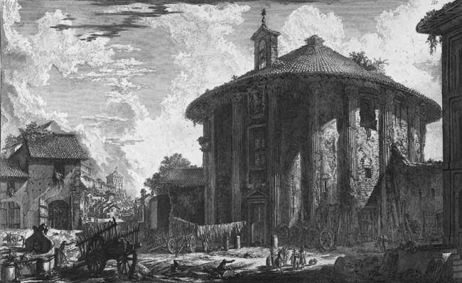 Piranesi's drawing of the Temple of Hercules in Rome shows that it was a church in a residential neighborhood.