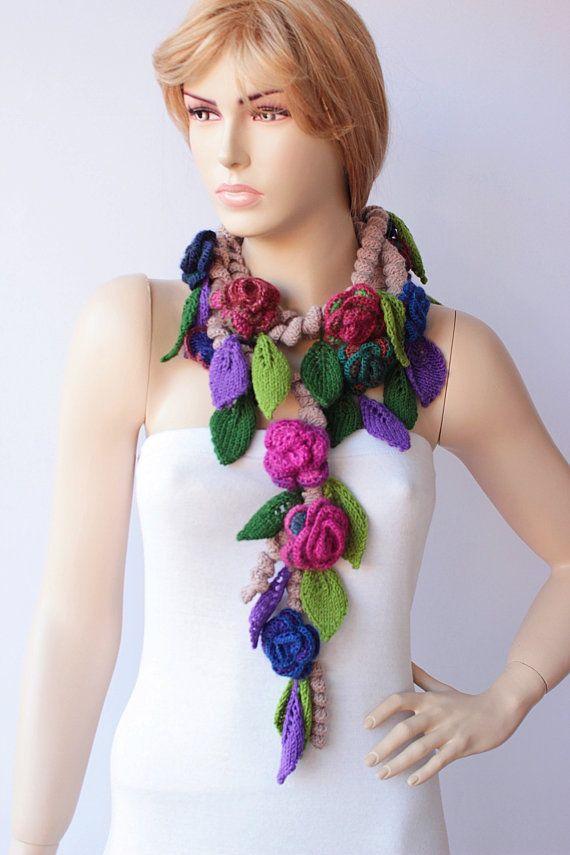 crochet scarf crochet lariat flower crochet scarf by SenasShop, $49.00