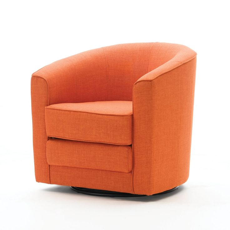 Barrel swivel chair orange made by elements awesome for Fun living room chairs