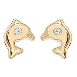 14K Gold Baby Dolphin Earrings with Screw Backs from www.thejewelryvine.com