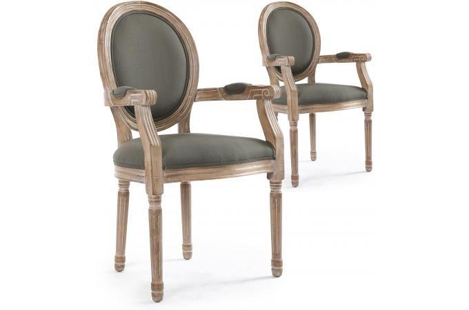 Lot de 2 Chaises Médaillon Style Louis XVI Tissu Gris HONORE