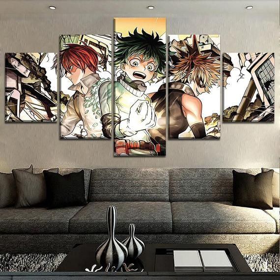 5 Pieces Canvas Painting Todoroki Shoto Hero My Hero Academia Poster For Modern Decorative Bedroom Living Room Home Wall Art Decor-With frame