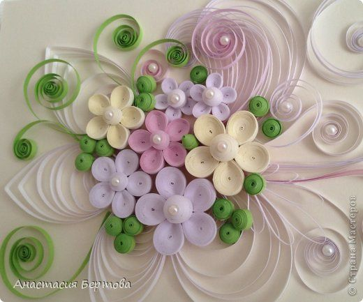 Painting mural drawing Masterclass Quilling card with blue flowers Bouquet Paper strips Beads Plastic Bottles Glue Foam Paint Krupa Leaves P. ..