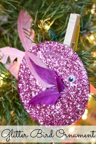 Recycled CD Glittery Bird Ornament for Kids Christmas Story Time +