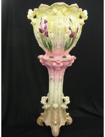 Victorian Art Nouveau Jardiniere & Pedestal