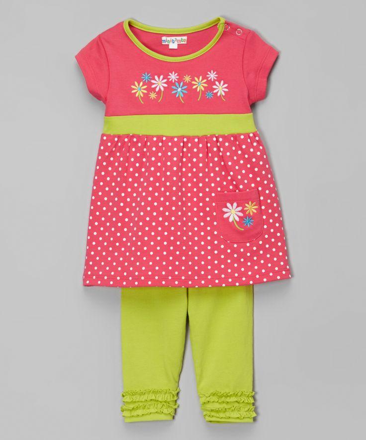 Мини Бамба фуксия в горошек Цветочный платье & Лайм Леггинсы младенческой | сайт zulily