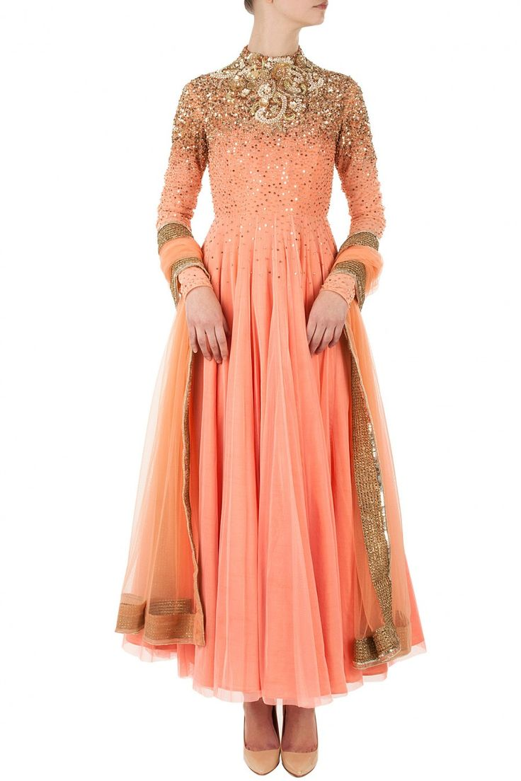 Coral victorian anarkali available only at Pernia's Pop-Up Shop.