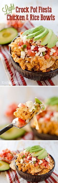 Light Crock Pot Fiesta Chicken & Rice Bowls - slow cooker super easy with very little prep work. Should add lettuce and scallions