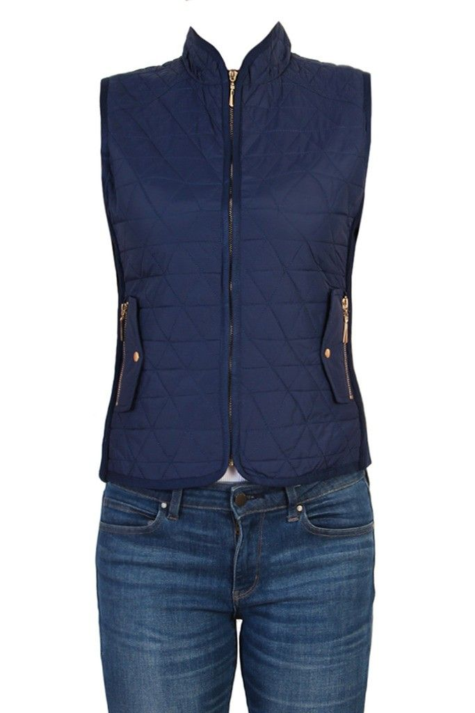 Women Zip Up Sleeveless Quilted Padded Puffy Down Vest-Navy