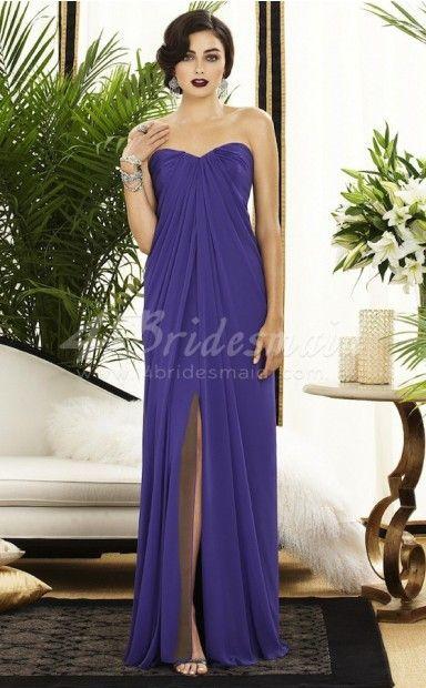 A-line Sweetheart Chiffon Floor-length Regency Bridesmaid Dresses(BD263)