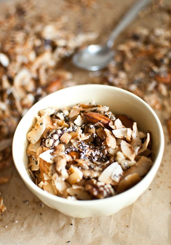 Coconut granola  (recipe inspired by Sarah Wilson)    100g natural coconut flakes  100g walnuts  30g almonds  30g chia seeds  1 teaspoon ground cinnamon  1 teaspoon ground, roasted wattleseed (optional if you can't find it)  30g coconut oil