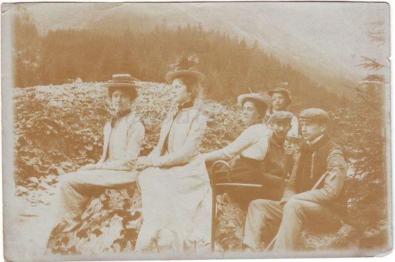 Vintage Photo  Antique photo  Women men photo  Mountain