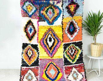 "20 % Rabatt - Lappen 7' x 4'9 ""Vintage Boucherouite Teppich, marokkanischer Teppich, geometrische Teppich, Teppich, böhmische Teppich, böhmische Boho-Dekor - LAILA"