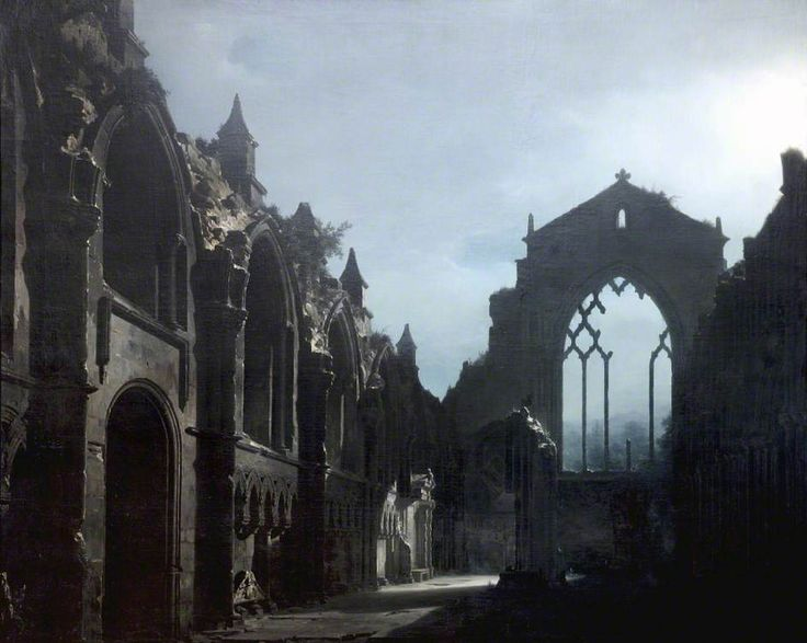 Ruins of Holyrood Chapel, oil painting by Louis Daguerre (1787 - 1851)