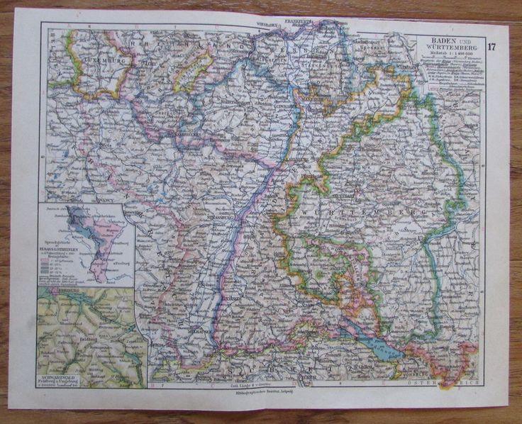 Baden und Württemberg Deutschland - alte Landkarte Karte old map 1928