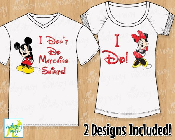 I don 39 t do matching shirts mickey minnie mouse printable for Free t shirt transfer templates