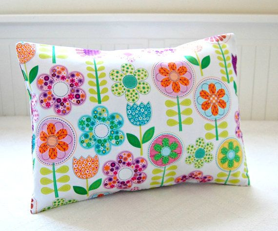 girls flower cushion cover, yellow orange green purple pink floral leaves pillow cover 12 x 16 inch on Etsy, $27.23 CAD