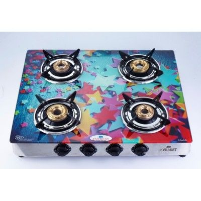 EVEREST EGD-03 GLASS TOP LPG GAS STOVE - 4 BURNERS - DIGITAL PRINTED (ASSORTED DESIGNS) Glass Top Cover Hard toughened glass is flashed as a thick cover, for safety, beauty & style. It comes with Fire Proof Film. Stainless Steel Drip Tray Rust free drip tray for easy cleaning. Unique toughened glass Spill proof design High thermal efficiency Uniquely designed pan Designer knobs One Year Warranty (No Warranty for Glass) *Products Will be Delivered Based on Printed Design availability