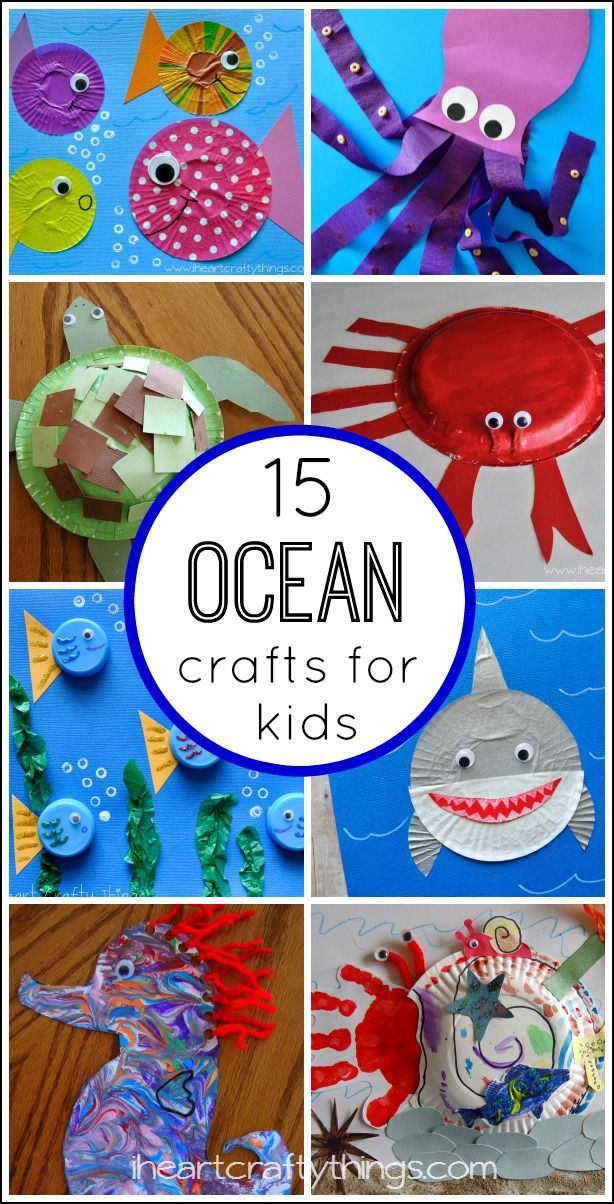 Kids will love creating these 15 Fantastic Ocean Themed Kids Crafts. from iheartcraftythings.com