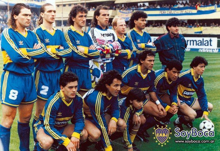 1992 Boca Juniors - Parados: Blas Giunta, Alejandro Giuntini, Marchesini, Navarro Montoya, Mac Allister y José Luis Villarreal. Agachados: Soñora, Márcico, Cabañas, Neffa y Tapia