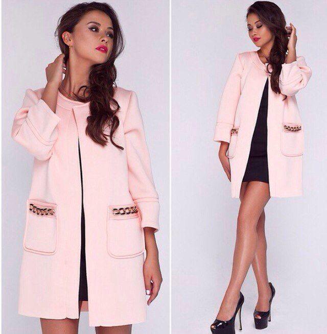 Пальто тренч неопрен Kanty розовое