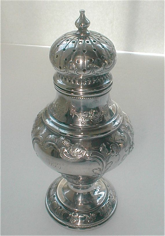 Antique Sugar Caster - Sterling Silver Repoussed Victorian Sifter Muffineer Spices Shaker Elegant Tableware    A most gorgeous Sterling Silver