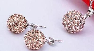 New Sterling Silver Round Rhinestones Stud Peirced Earrings Necklace Jewelry Set