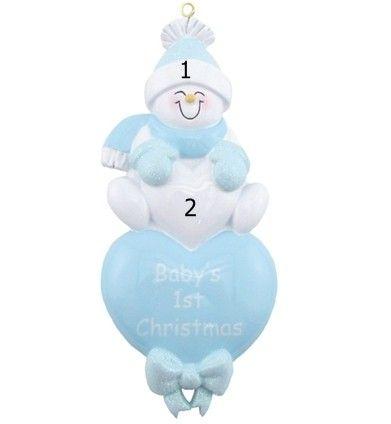 Baby Boy Ornament Blue Snowman Hearts