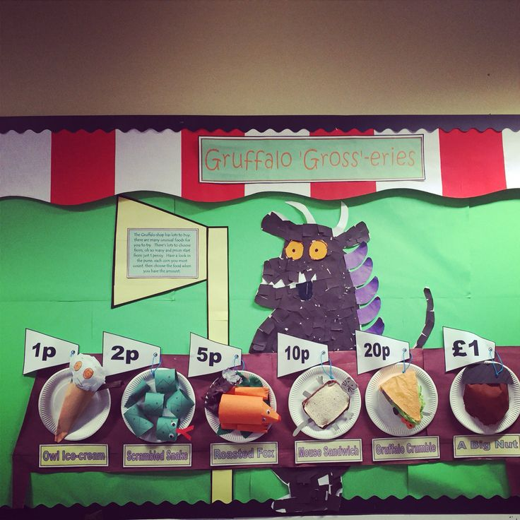 Gruffalo gross-eries classroom display. This half term our topic is Julia Donaldson and our book of the week is the gruffalo . Our math focus is money and we have combined to two with this colourful display :-)