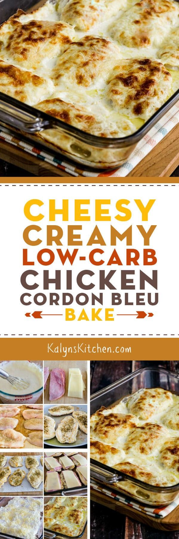 Cheesy Creamy Low-Carb Chicken Cordon Bleu Bake is a delicious low-carb casserole with layers of chicken, ham, and cheese with a creamy sauce. If you like those flavors, you'll love this recipe. [found on KalynsKitchen.com] #LowCarb #LowCarbCasserole #LowCarbChickenCordonBleu #ChickenCordonBleu