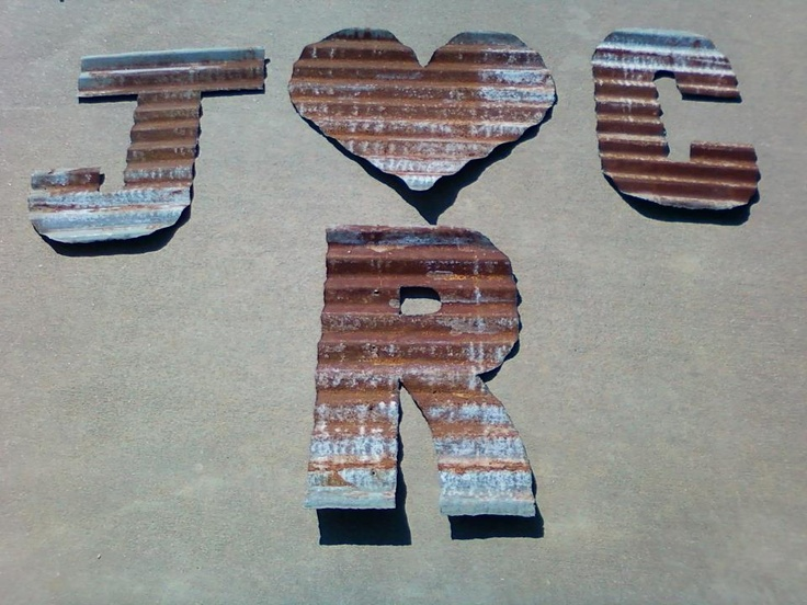 Metal letters from old barn tin country pinterest for Old barn tin ideas