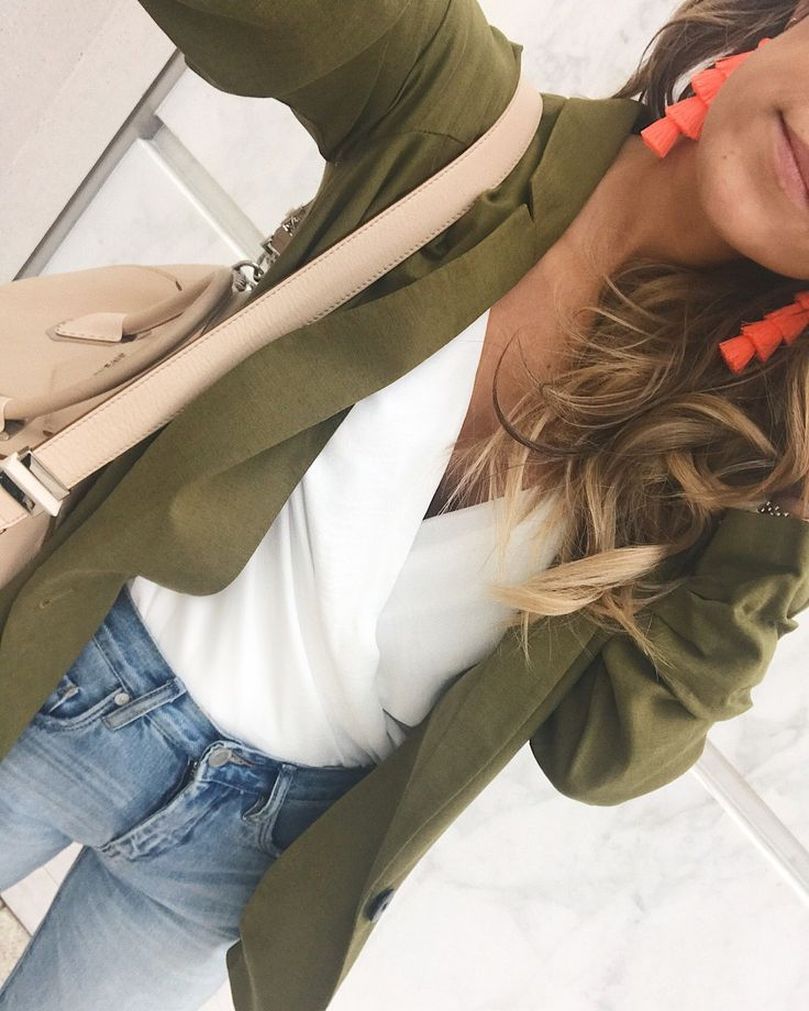 Olive Green Blazer  & White Body Suit