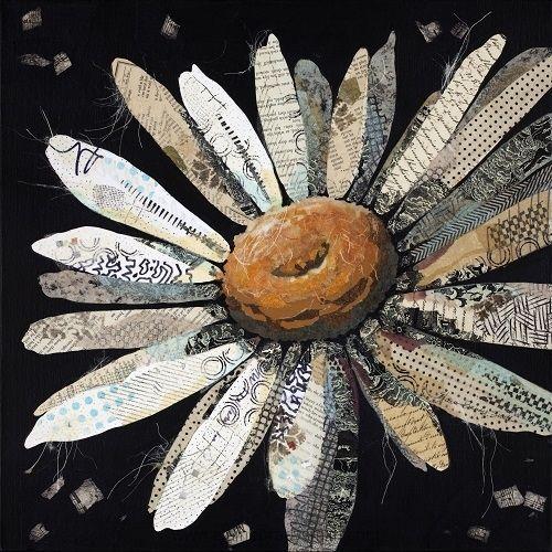 """Daisy No 2"" by Elaine Brady Smith, torn paper collage on canvas http://www.elainebradysmith.com/gallery/mixedmediaart/"
