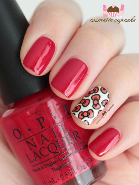 OPI Big Apple Red nail polish + Hello Kitty bow nail wrap accent nail