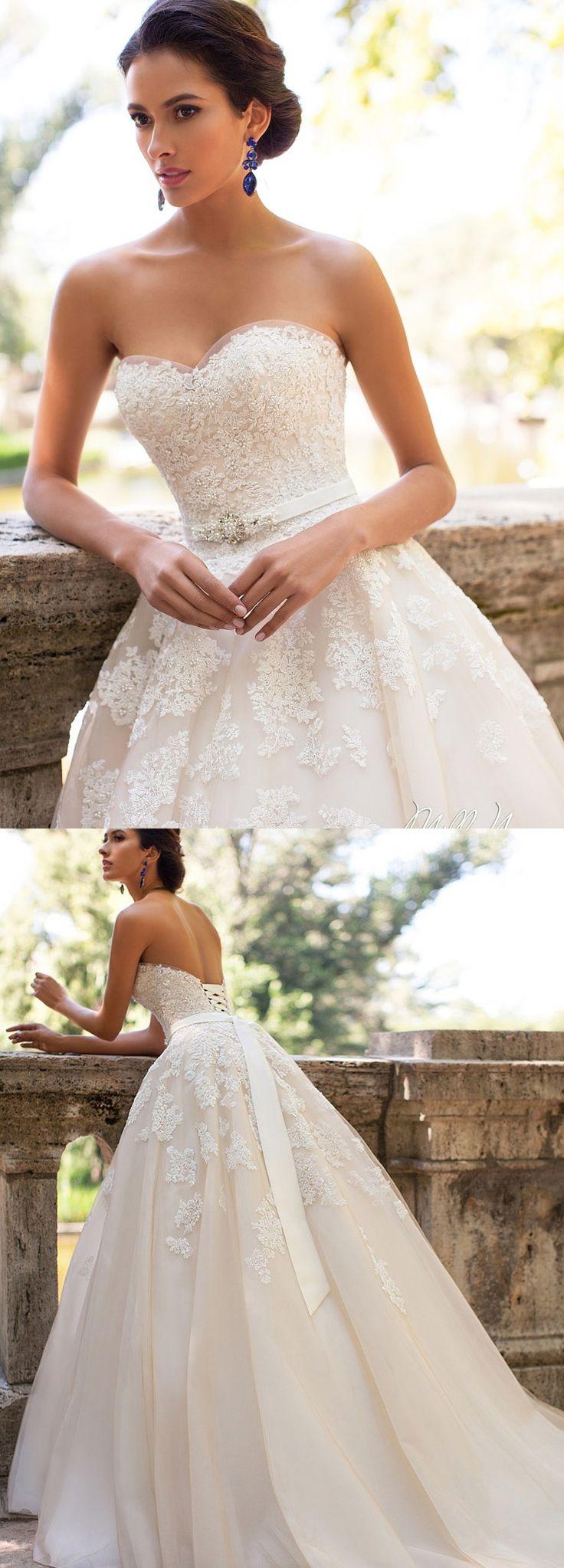 Sweetheart Wedding Dresses, Ivory Wedding Dresses, Organza Wedding dresses, Wedding Dresses 2017, 2017 Wedding Dresses Sweetheart Ivory Appliques Organza