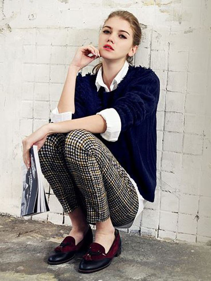 Navy Jumper With Whit Blouse And Slim Plaid Pants Three-piece Suit - Fashion Clothing, Latest Street Fashion At Abaday.com