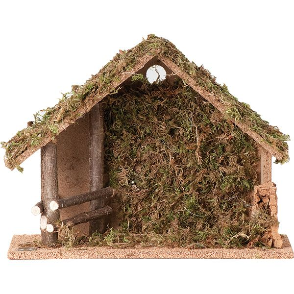 """Simple stable design, measuring 10"""" high, suitable for the 5"""" series of Fontanini figures, or other Nativity pieces."""