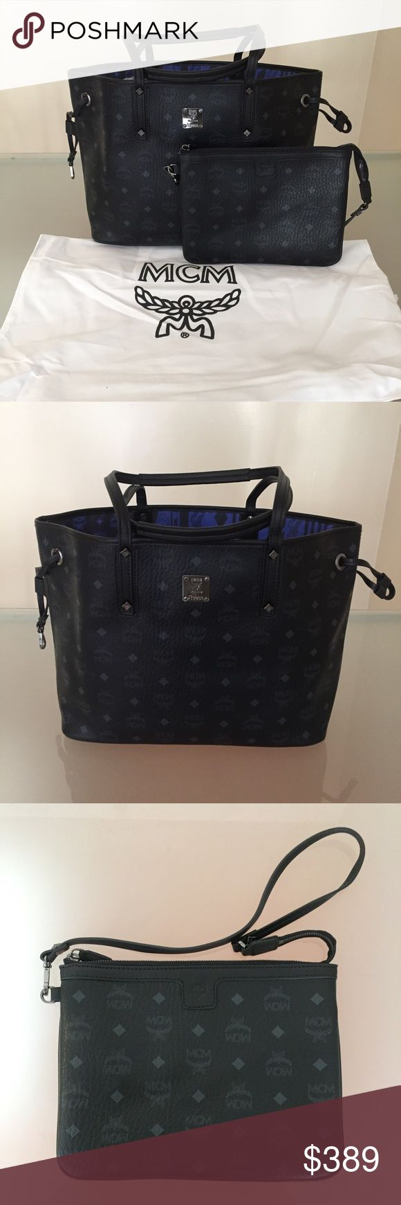 MCM purse tote black reversible handbag authentic guaranteed. size medium, perfect condition, fast shipping MCM Bags Totes