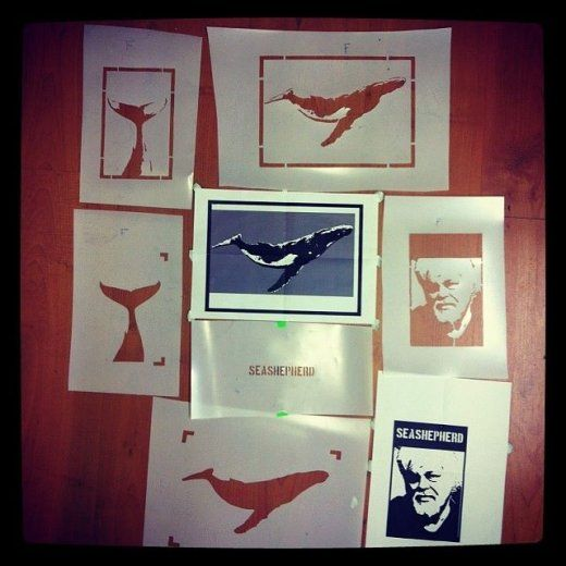 Stencils for the notebooks we make for Sea Shepherd