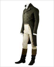 Mens' daywear in the Regency era: jacket, waistcoat, buff breeches and high top boots