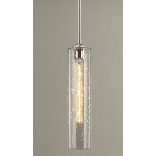 Satin Nickel Mini-Pendant Light with Clear Seedy Cylinder Glass | 581-09 GL1641C | Destination Lighting