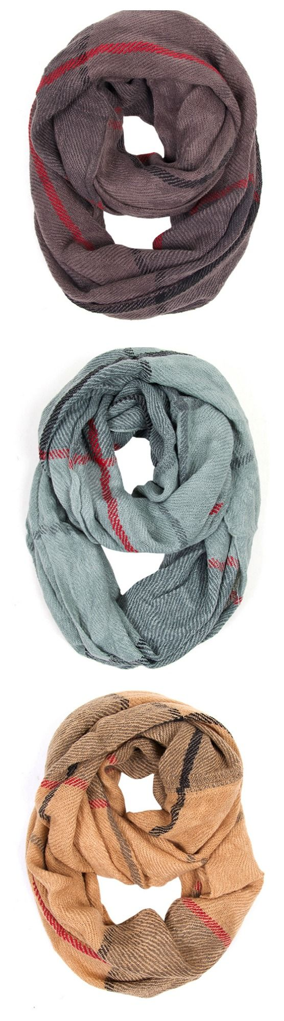 Fall fashion scarves. Classic check scarf in grey, mint and brown.