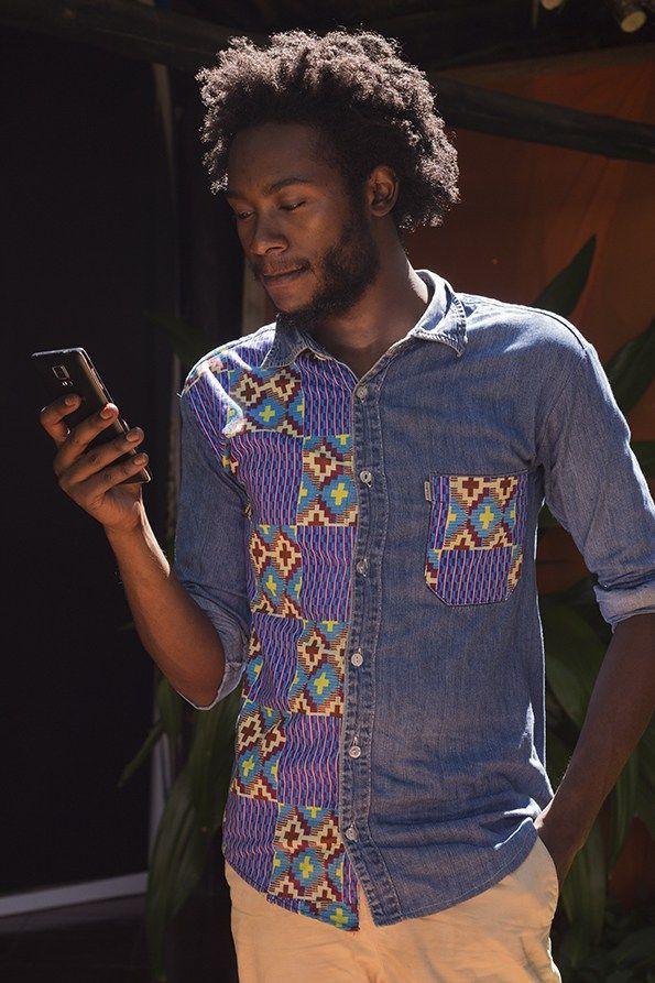 Denim patchwork shirt, seen at the Swahili Fashion Week 2015 in Dar Es Salaam