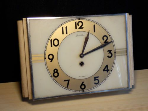 Rare vtg Bauhaus wind-up CS Chronotechna kitchen clock-wall pre Prim Pragotron