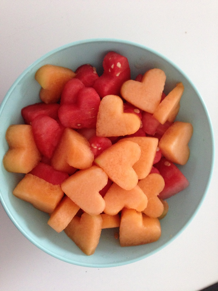 Use cookie cutters on various fruits for a Valentine Dessert