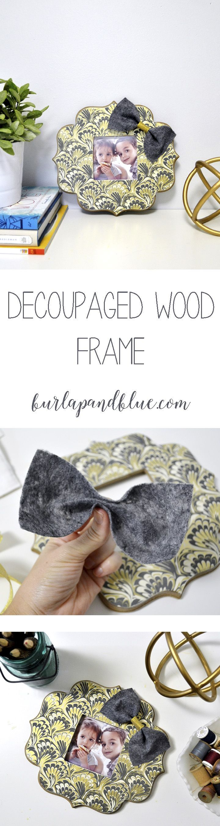 Unfinished wood picture frames craft - Decoupage An Unfinished Wood Frame Last Minute Holiday Gift Idea