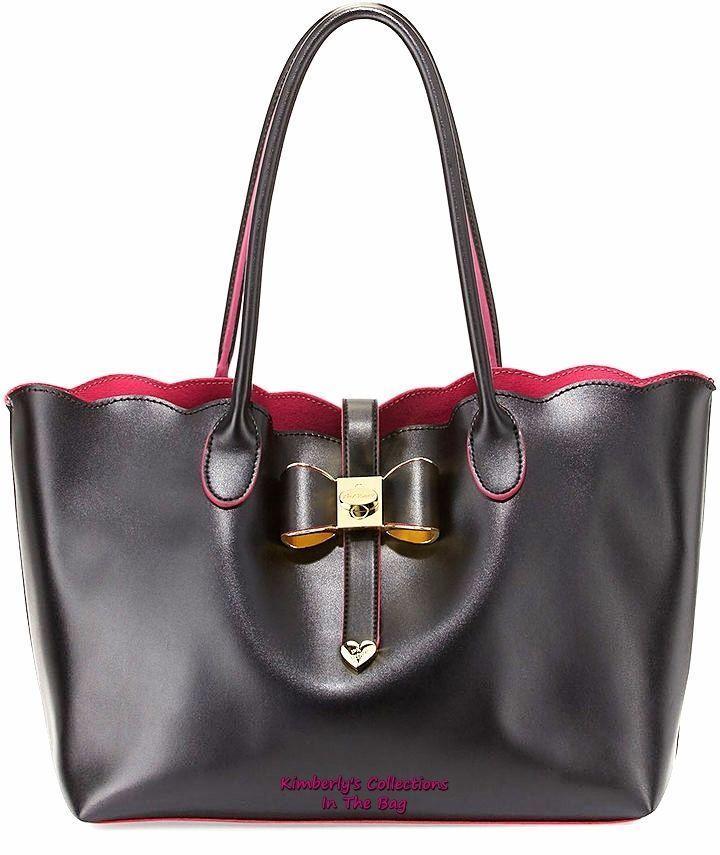 Betsey Johnson Extra Baggage Scallop Edge Tote Bag Black 2 Piece Set NWT #BetseyJohnson #ShoulderBag #ToteShoppers #CosmeticBags #designer #purses #handbags #black