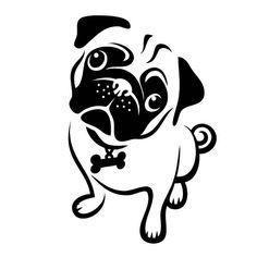 Resultado de imagen de pug face clipart black and white #Pug