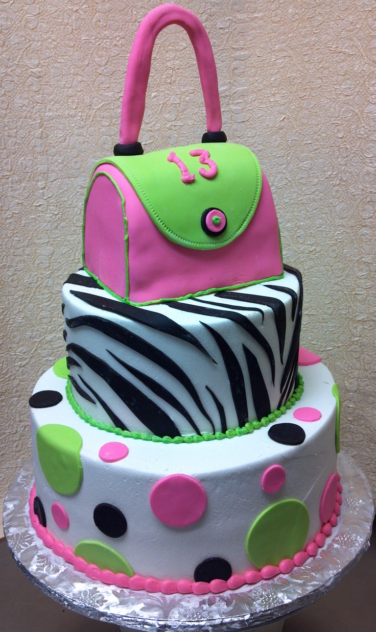 Hot pink purse cake for a teen birthday This fits KayLyn to a T! Polka dots...zebra....purse...